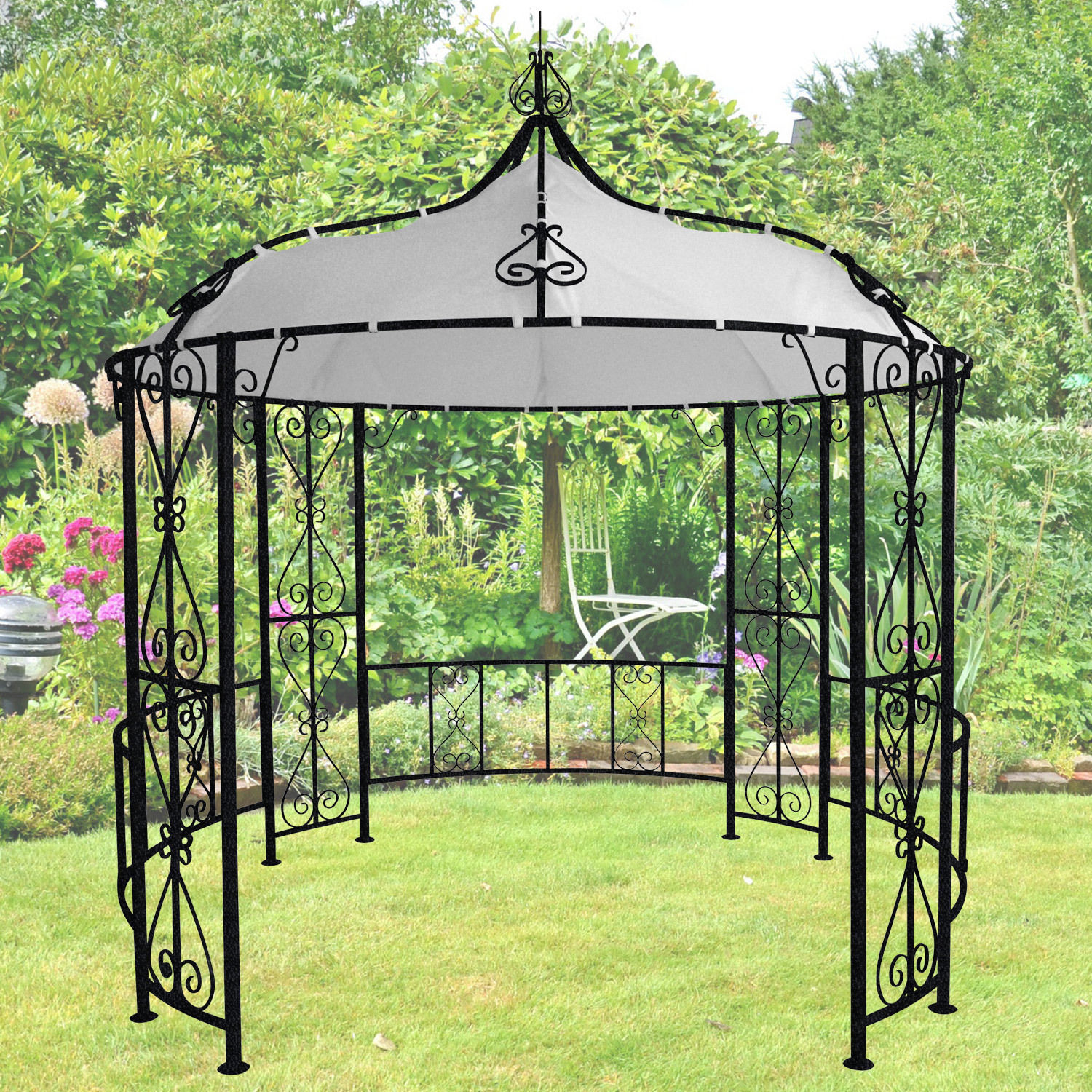 miganeo gazebo metall pavillon pavillion zelt 3x3x2 9m. Black Bedroom Furniture Sets. Home Design Ideas