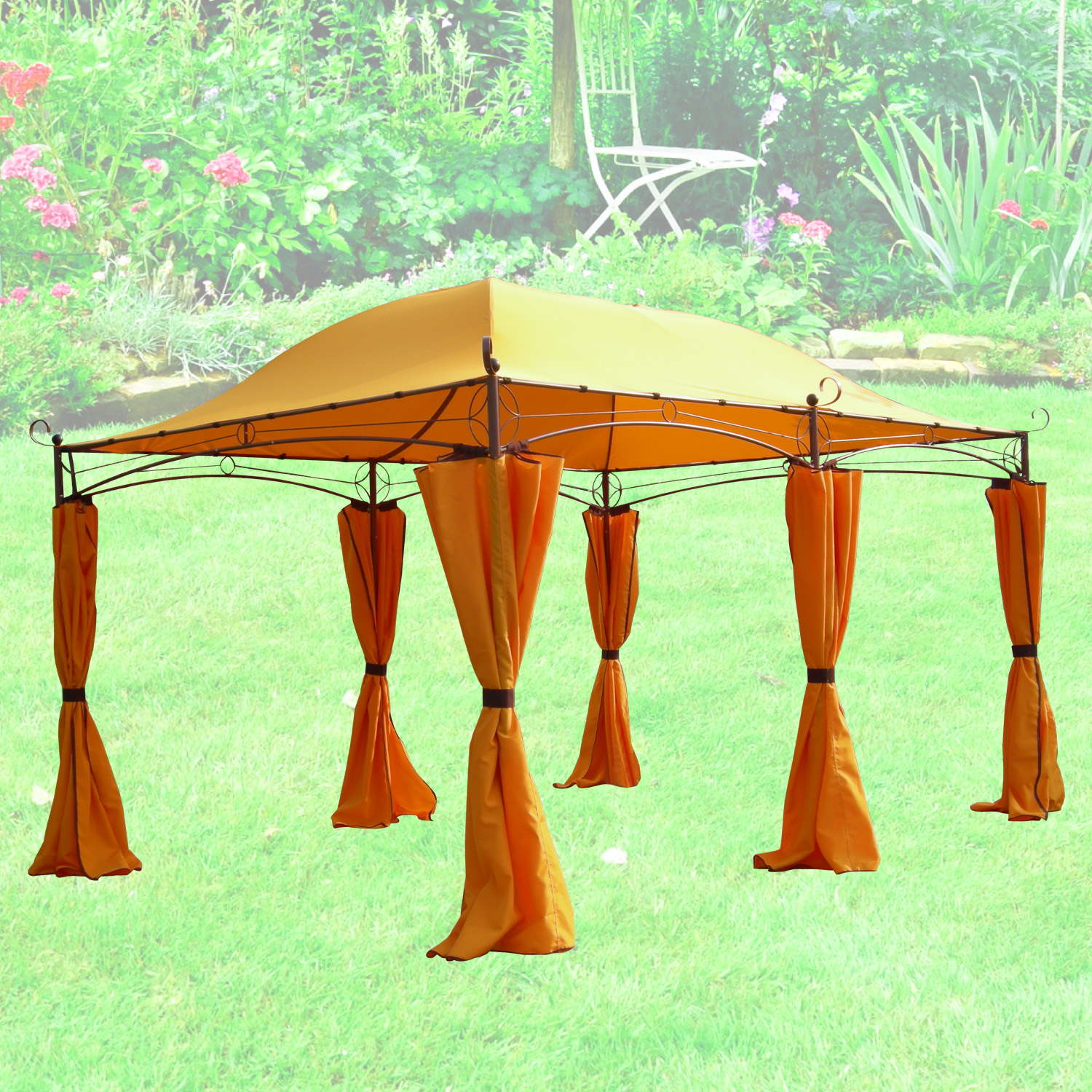 terena metall gartenpavillon 3x4 m gazebo garten pavillon belissimo orange. Black Bedroom Furniture Sets. Home Design Ideas