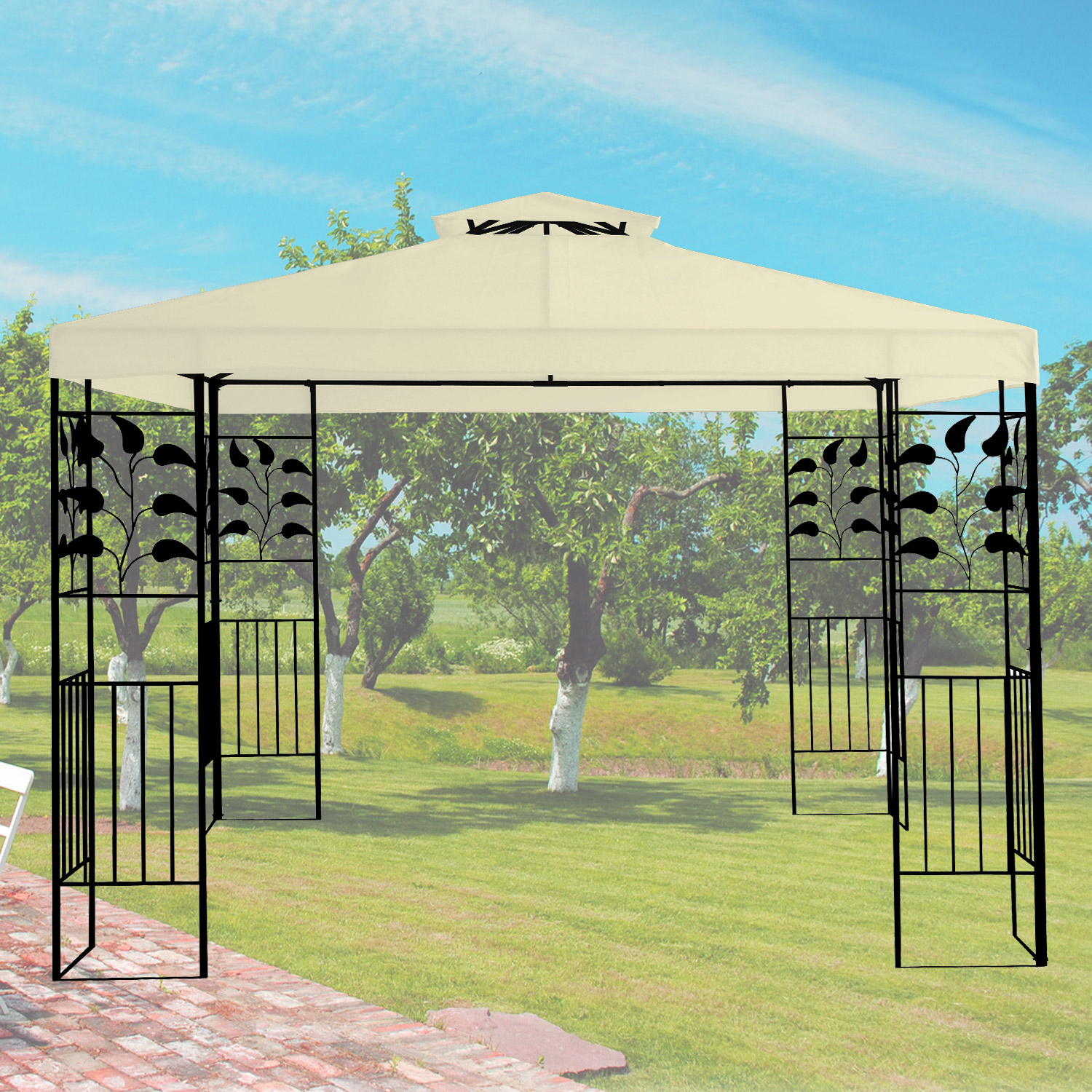 pavillon 3x3m metall gartenpavillon festzelt dach zelt garten wasserfest beige ebay. Black Bedroom Furniture Sets. Home Design Ideas