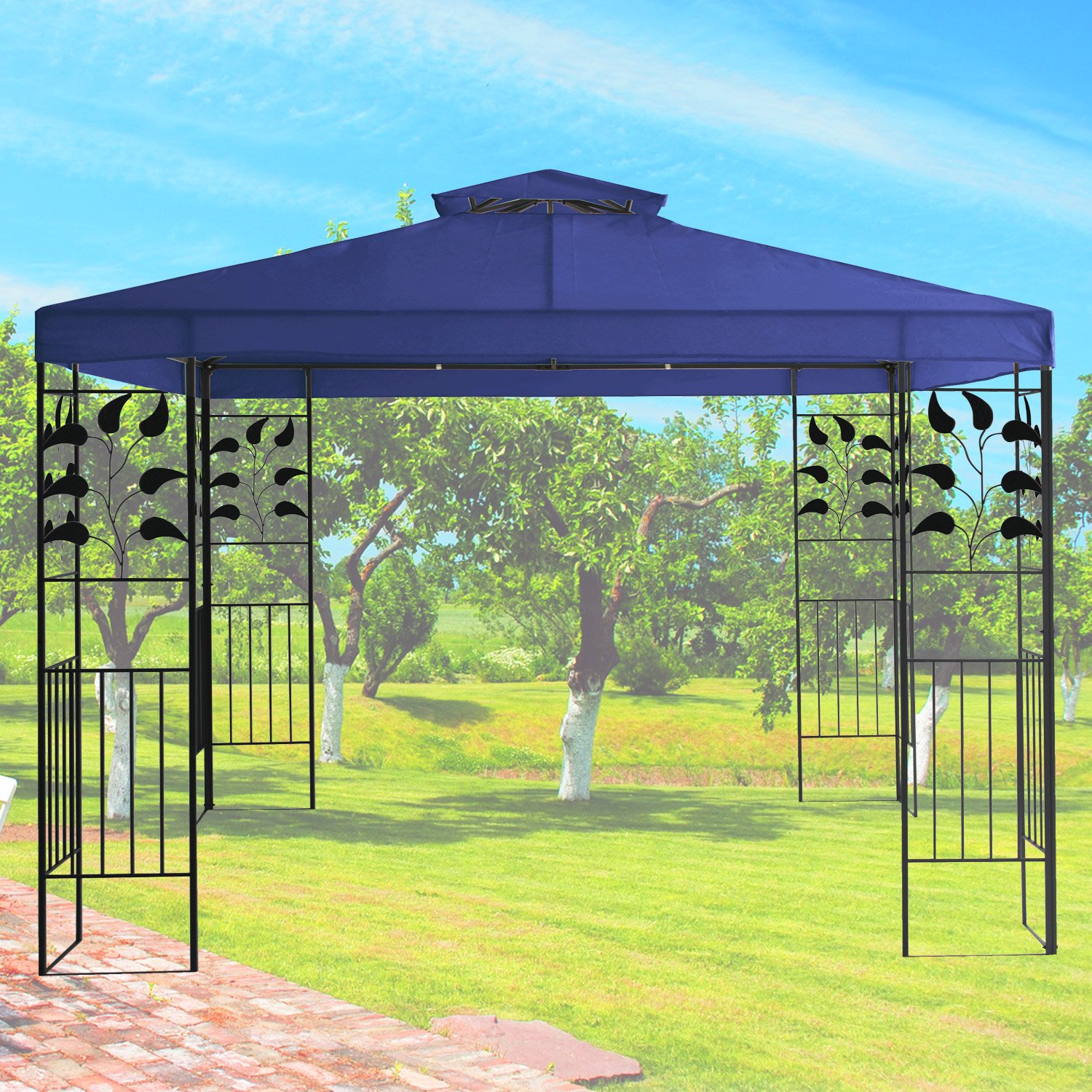 pavillon 3x3m metall gartenpavillon festzelt dach zelt garten wasserfest blau ebay. Black Bedroom Furniture Sets. Home Design Ideas