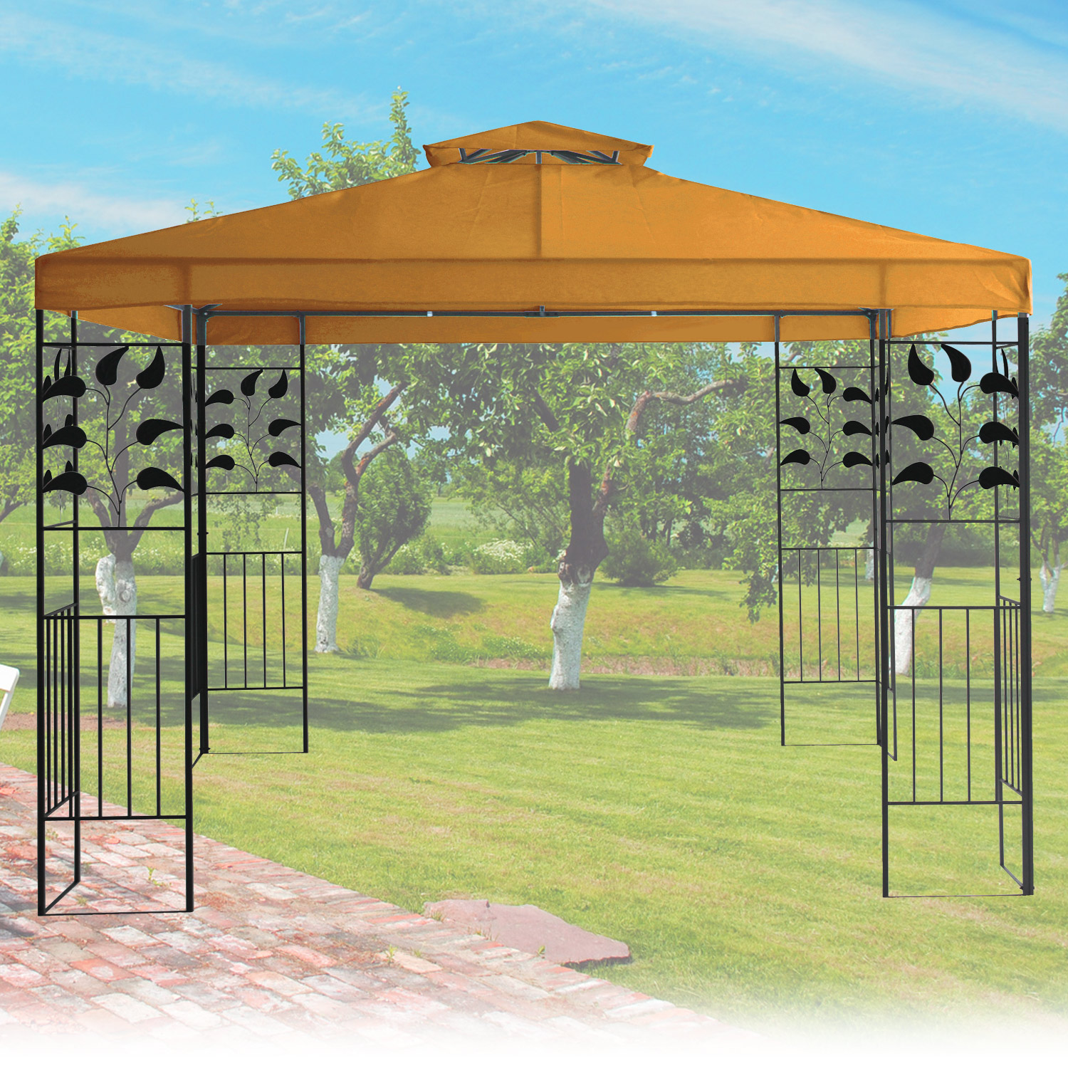 pavillon 3x3m metall gartenpavillon festzelt dach zelt garten wasserfest orange. Black Bedroom Furniture Sets. Home Design Ideas