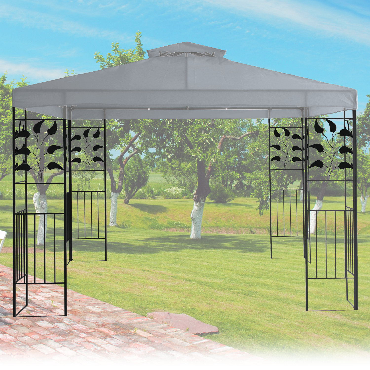 pavillon 3x3m metall gartenpavillon festzelt dach zelt garten wasserfest grau ebay. Black Bedroom Furniture Sets. Home Design Ideas