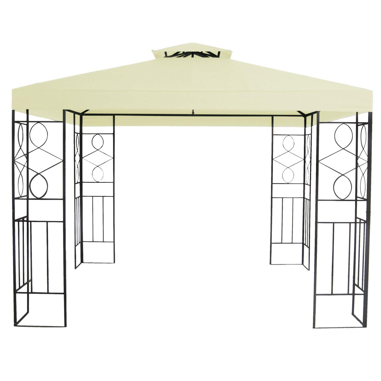 pavillon 3x3m metall gartenpavillon festzelt dach zelt garten beige ebay. Black Bedroom Furniture Sets. Home Design Ideas