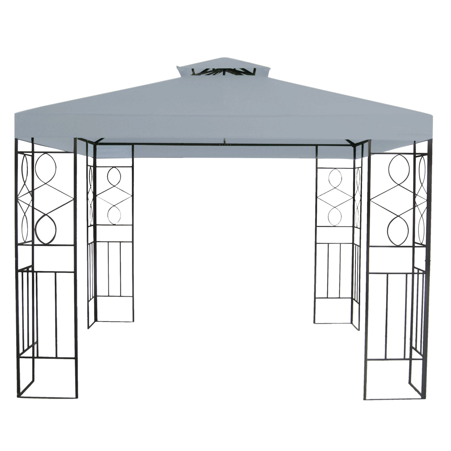 metall gartenpavillon 3x3 gazebo mit entl ftungsfunktion garten pavillon grau. Black Bedroom Furniture Sets. Home Design Ideas