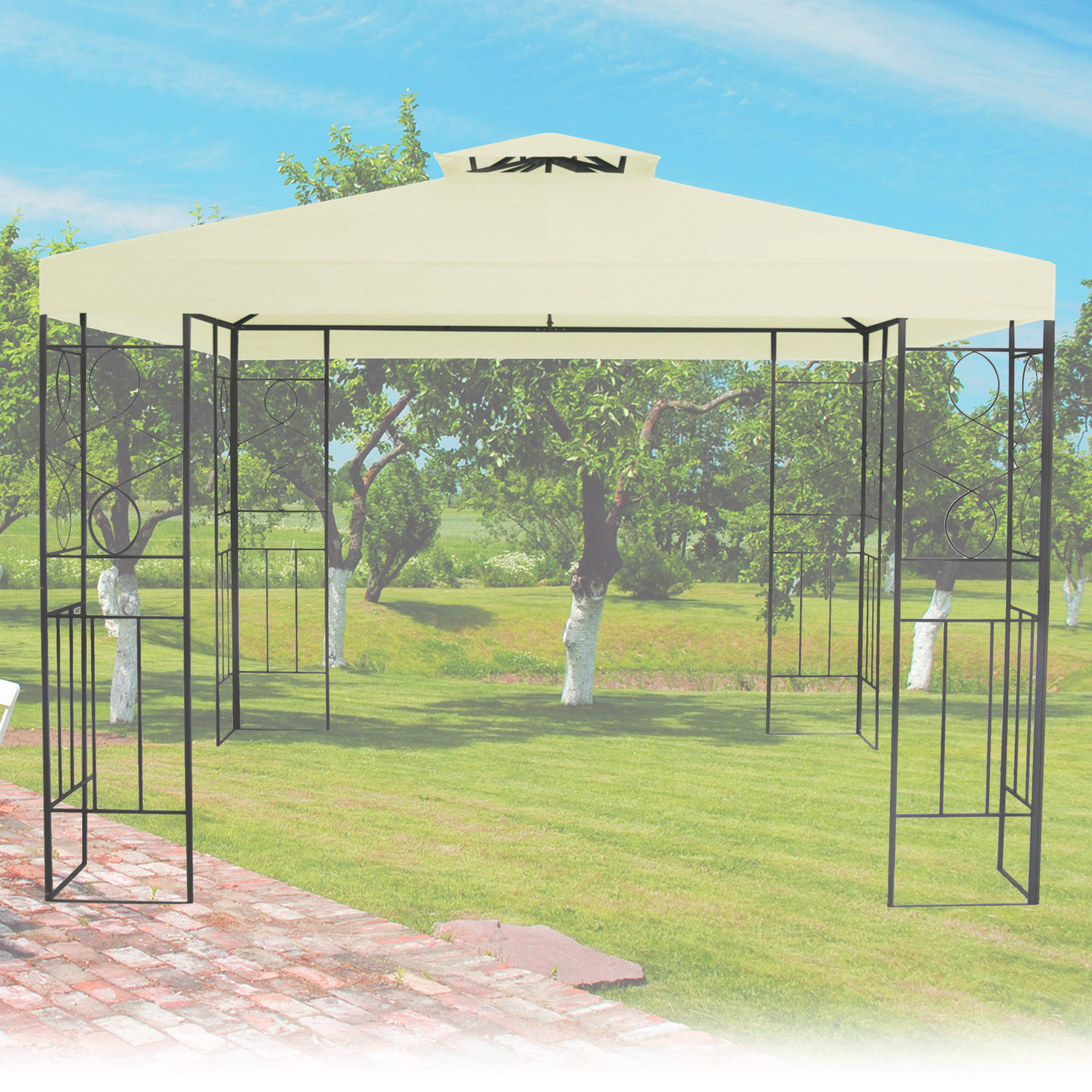 metall gartenpavillon 3x3 gazebo mit entl ftungsfunktion garten pavillon beige. Black Bedroom Furniture Sets. Home Design Ideas