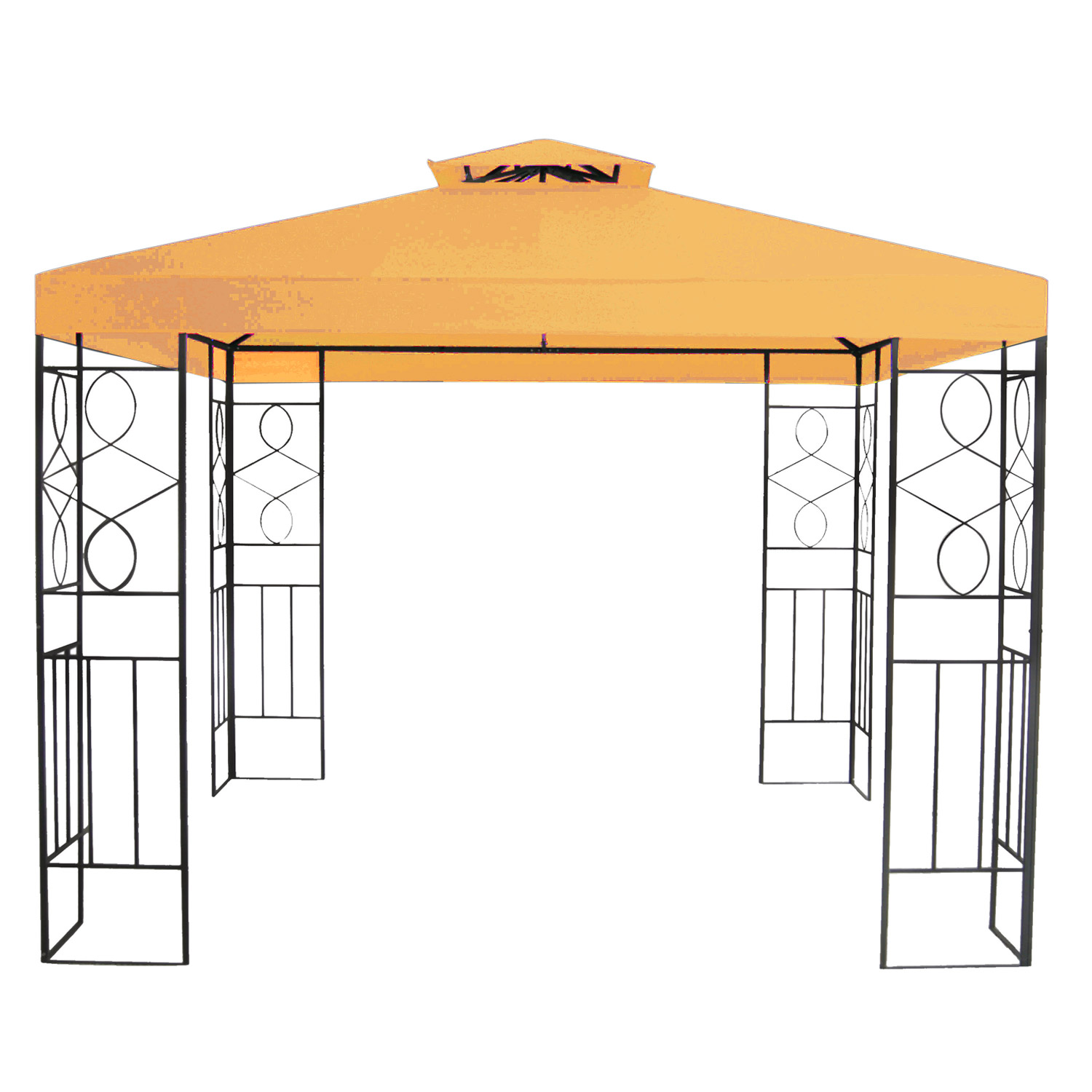 pavillon 3x3m metall gartenpavillon festzelt dach zelt garten wasserfest orange 4260237783466 ebay. Black Bedroom Furniture Sets. Home Design Ideas