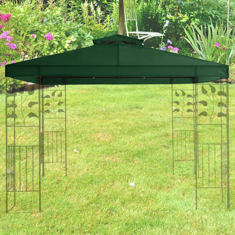 miganeo ersatzdach stoffdach f r gazebo napoli 3x3m gr n. Black Bedroom Furniture Sets. Home Design Ideas