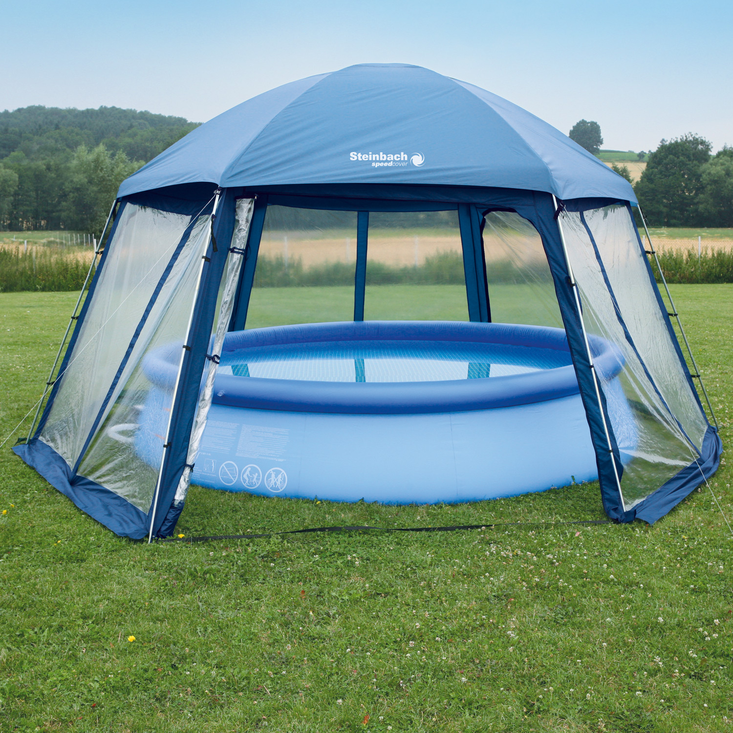 Pavillion 600x520x280 cm pool zelt metall poolpartyzelt for Garten pool intex