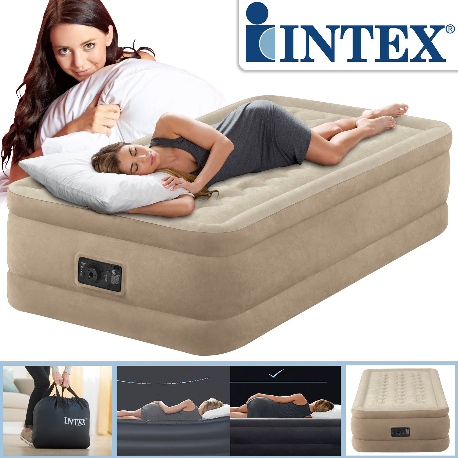 intex luftbett mit pumpe g stebett bett matratze luftmatratze selbstaufblasend ebay. Black Bedroom Furniture Sets. Home Design Ideas
