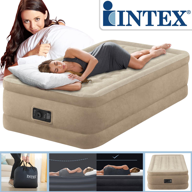 Intex luftbett mit pumpe g stebett bett matratze luftmatratze selbstaufblasend ebay - Bett mit seitenwand ...