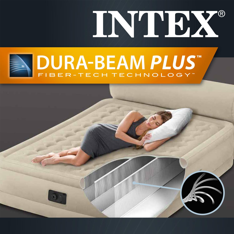 Intex luftbett mit pumpe g stebett bett matratze luftmatratze r ckenlehne 230v ebay - Bett mit seitenwand ...
