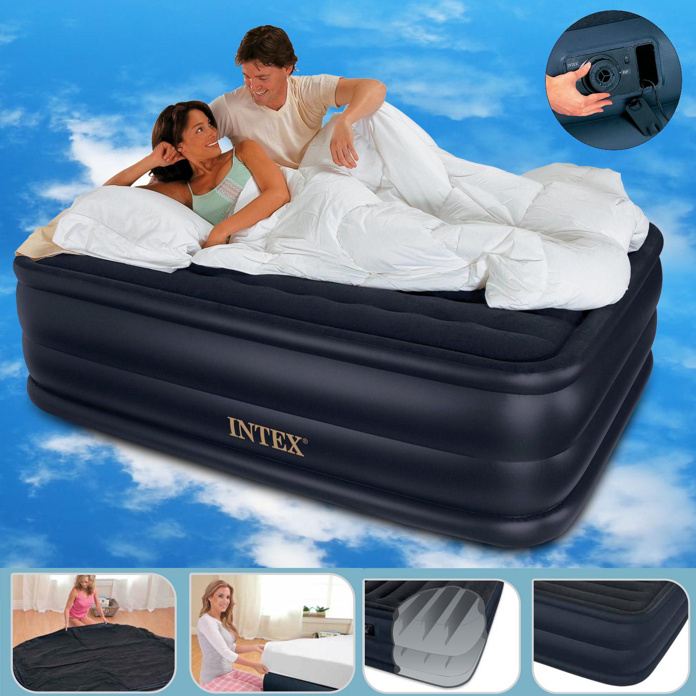 intex luftbett mit pumpe g stebett bett matratze luftmatratze selbstaufblasend ebay. Black Bedroom Furniture Sets. Home Design Ideas