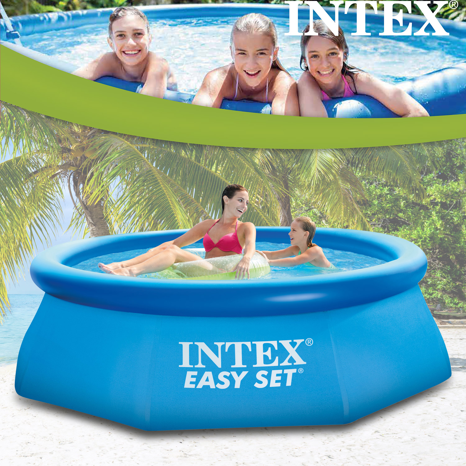 Intex 244 x 76 cm easy set quick up pool 28110np for Pool set angebote