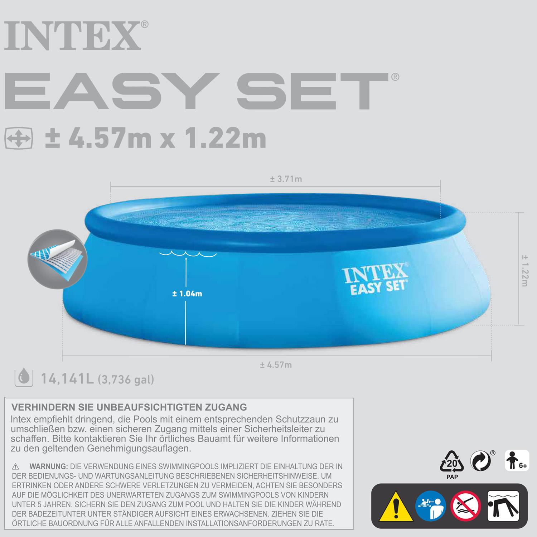 Intex 457x122 schwimmbecken swimming pool schwimmbad quick for Garten pool 457x122