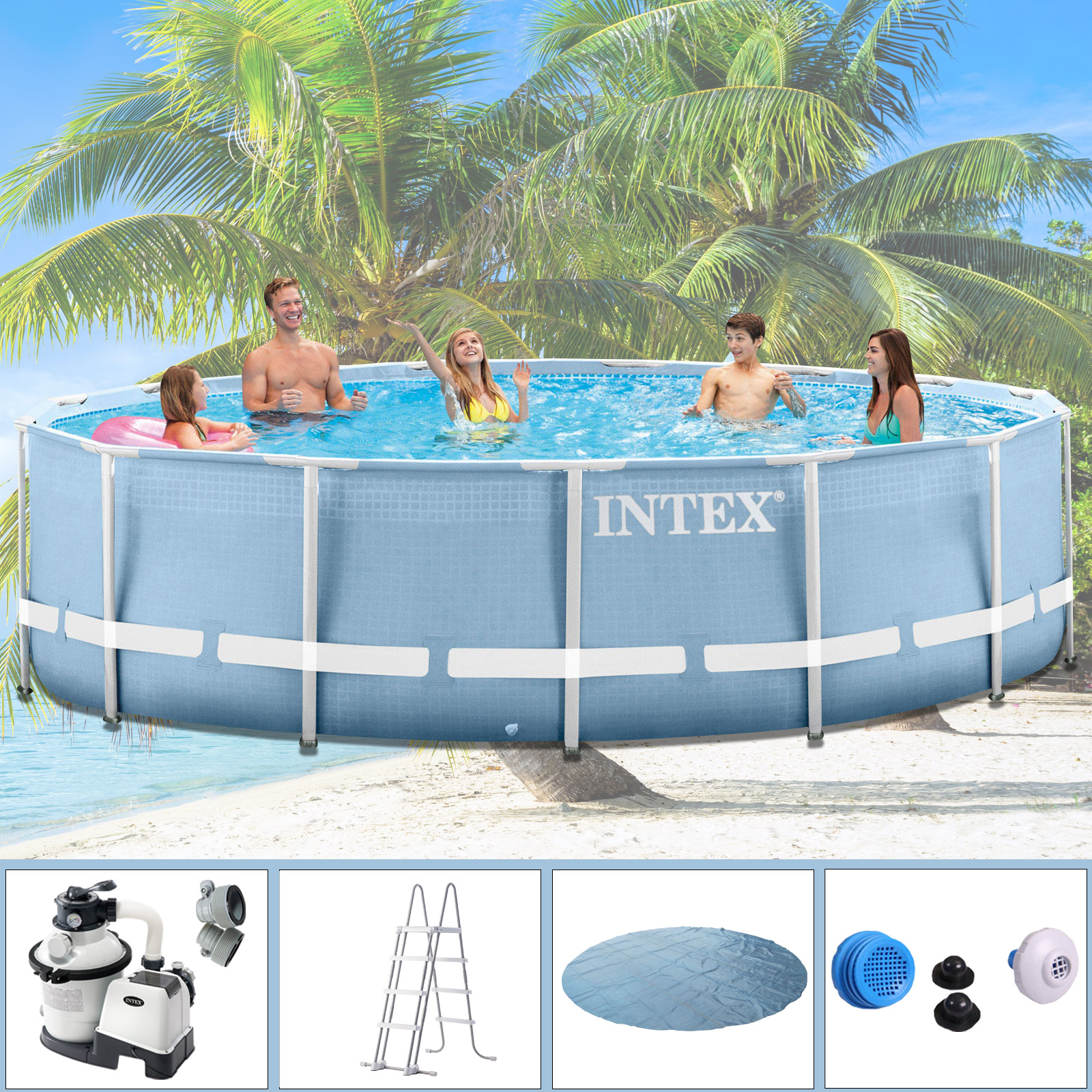 intex swimming pool frame 457x122 cm mit sandfilter leiter solarfolie