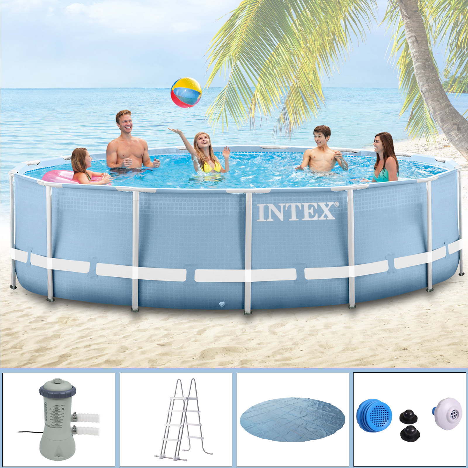 Intex swimming pool frame 457x122 cm mit pumpe leiter for Pool aufblasbar mit pumpe