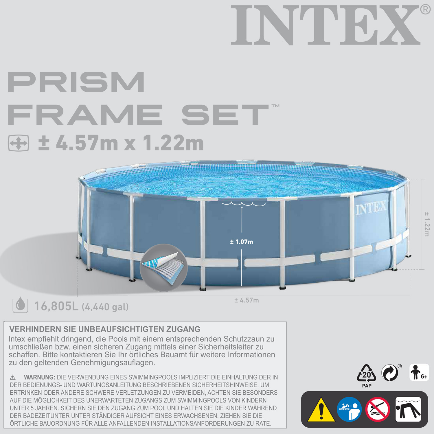 intex 457x122 cm mit pumpe schwimmbecken swimming pool. Black Bedroom Furniture Sets. Home Design Ideas