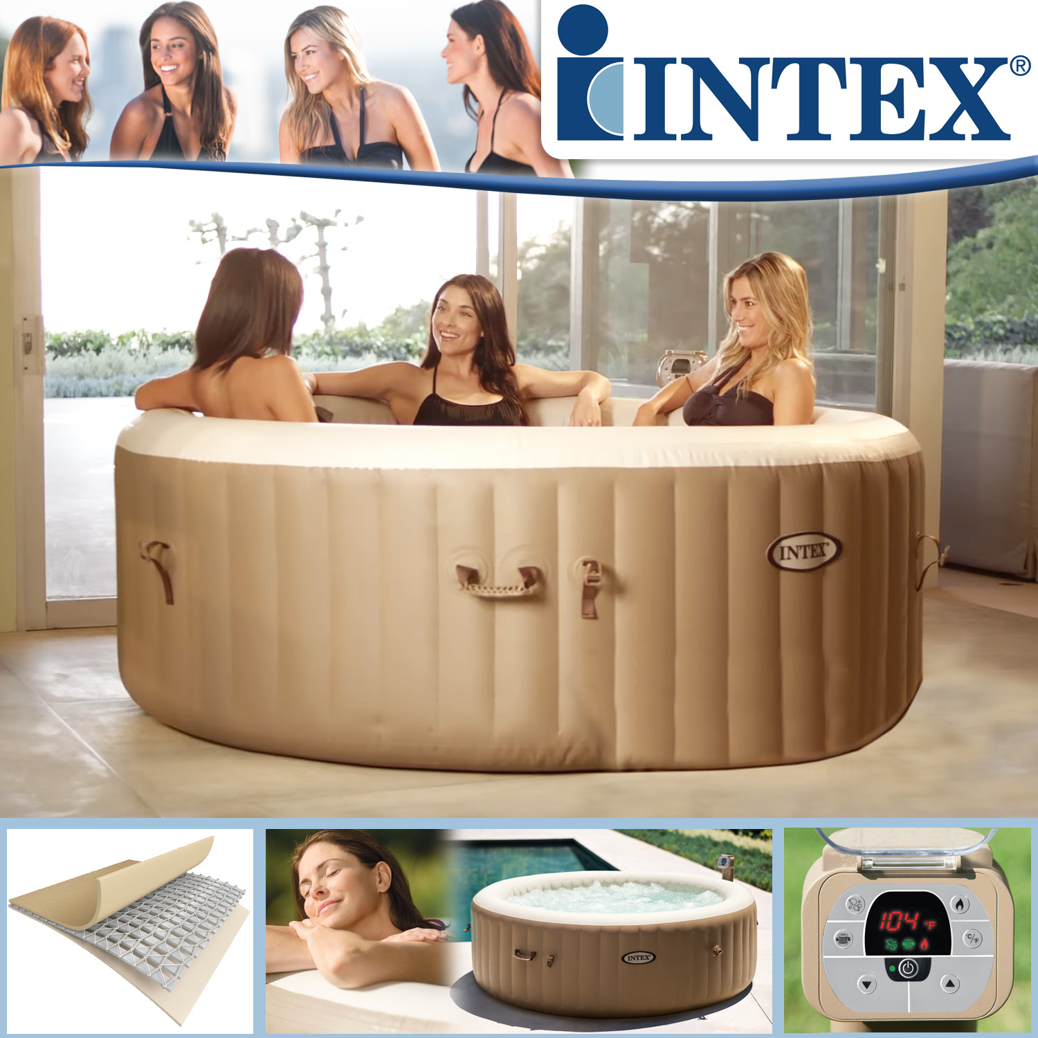 Intex Whirlpool Pure Spa Bubble Massage mit Kalkschutzsystem