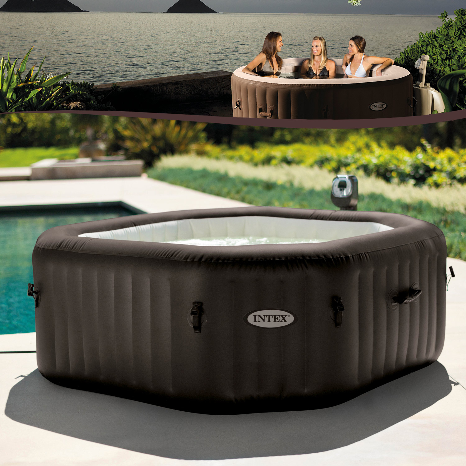intex whirlpool pure spa octagon jet mit kalkschutzsystem. Black Bedroom Furniture Sets. Home Design Ideas