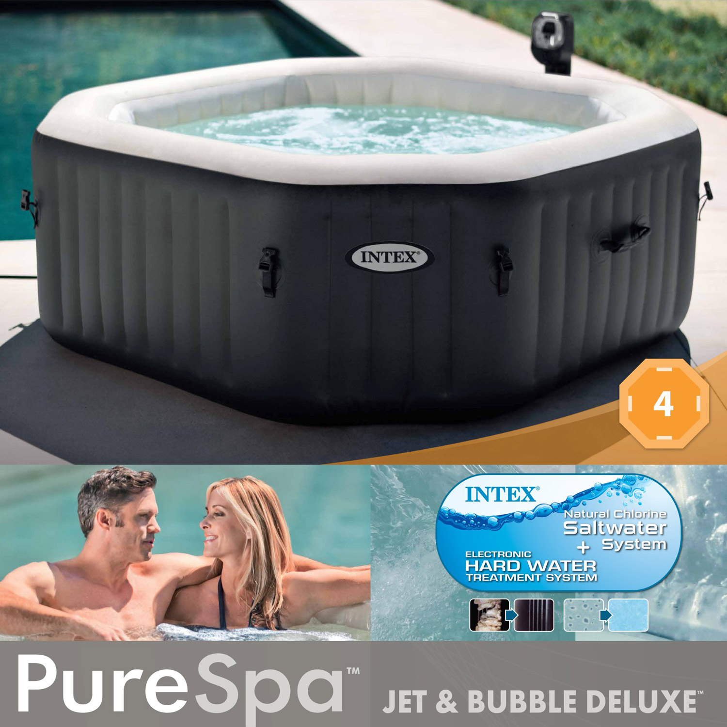 "Intex Pure SPA 79"" Octagon Bubble Jet & Salzwassersystem"