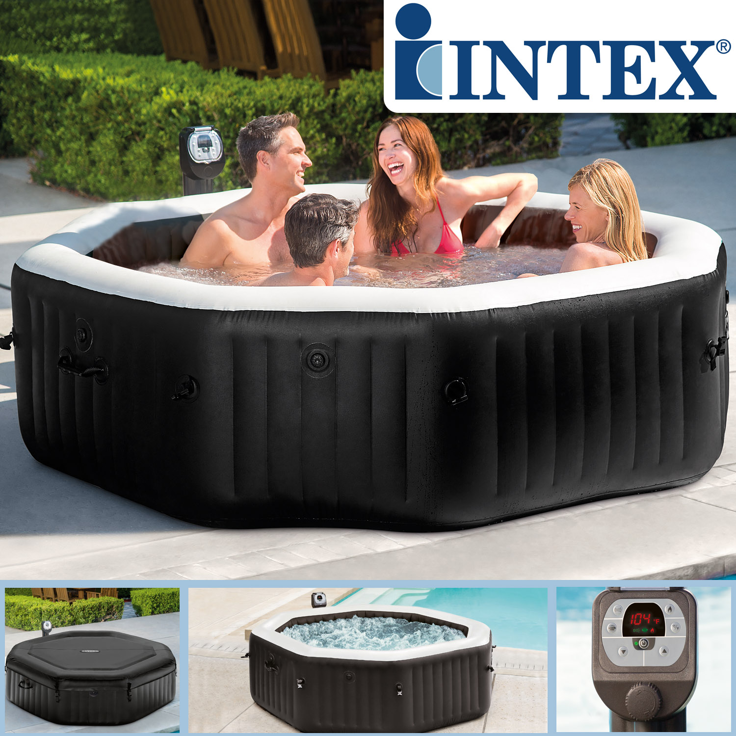 Intex Pure SPA Pure Spa Octagon Bubble Jet mit Salzwassersystem
