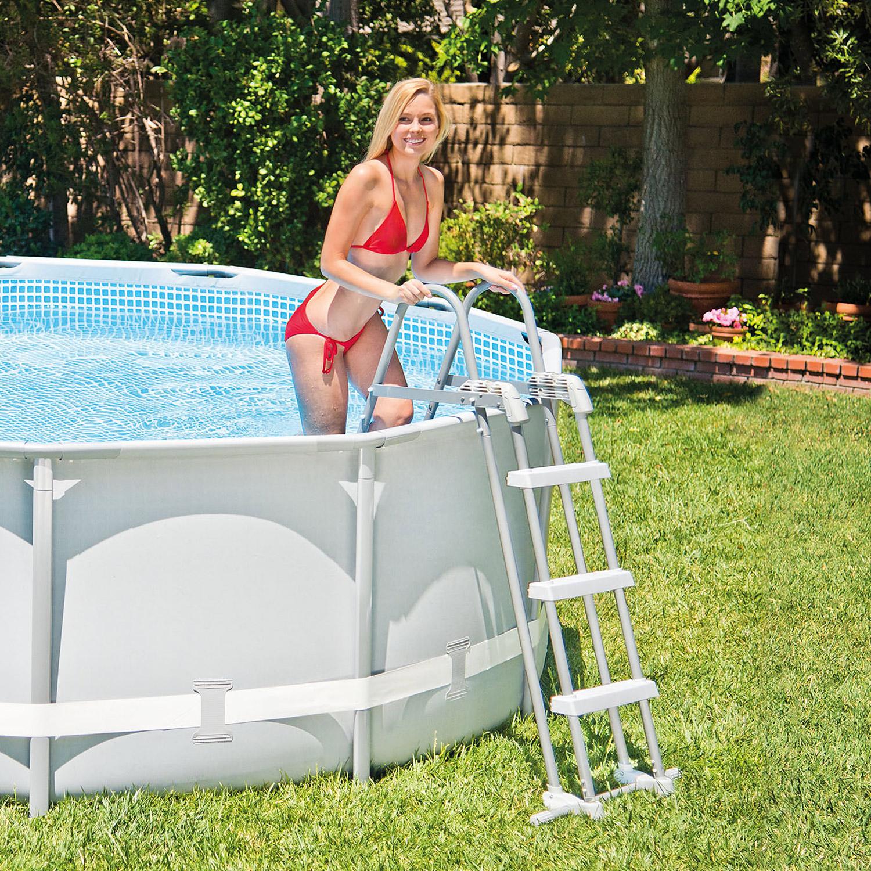 Intex sicherheitsleiter 91 107 cm leiter pool schwimmbad for Garten pool leiter