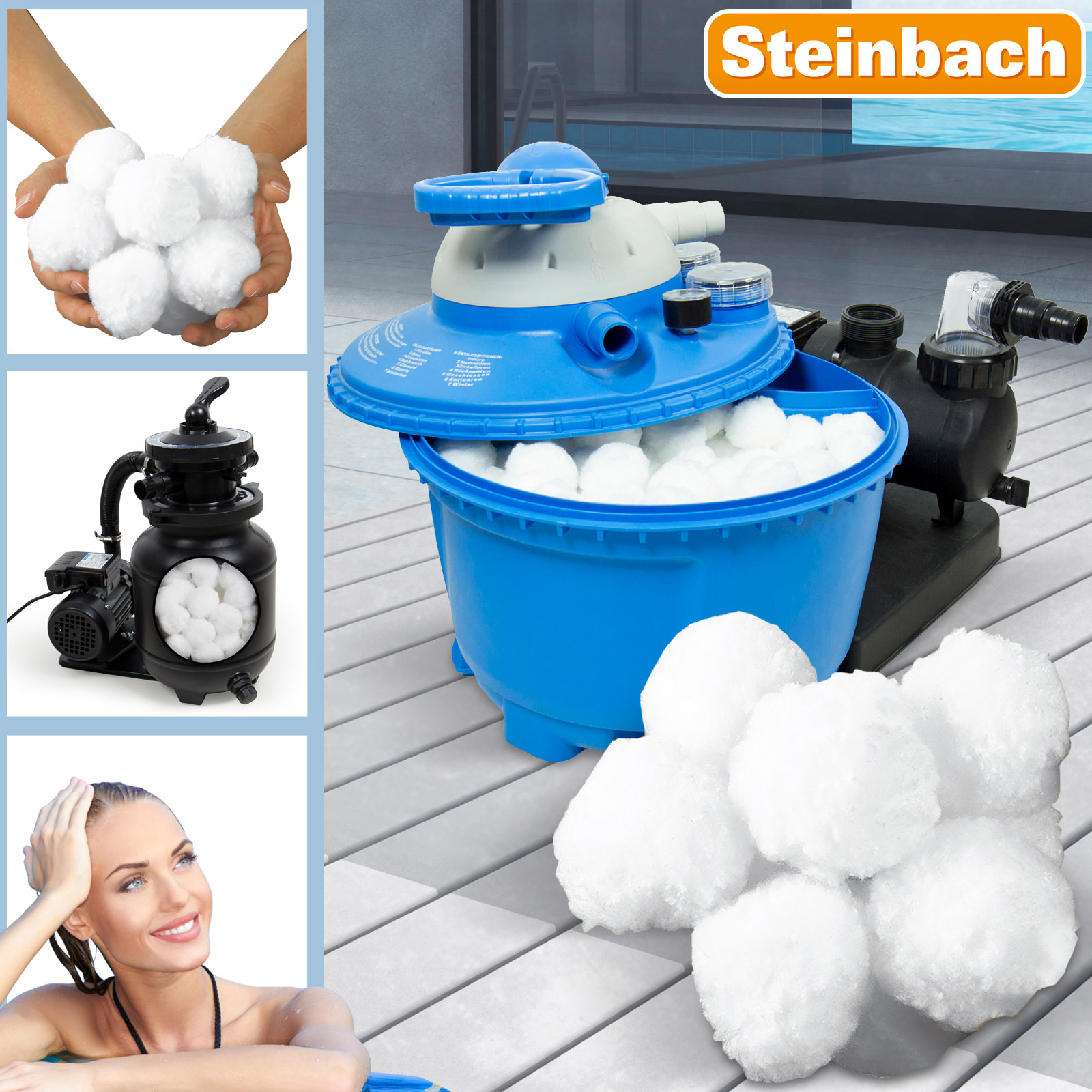 Filter balls 700g f r sandfilter alternativ zu 25 kg for Obi filtersand pool