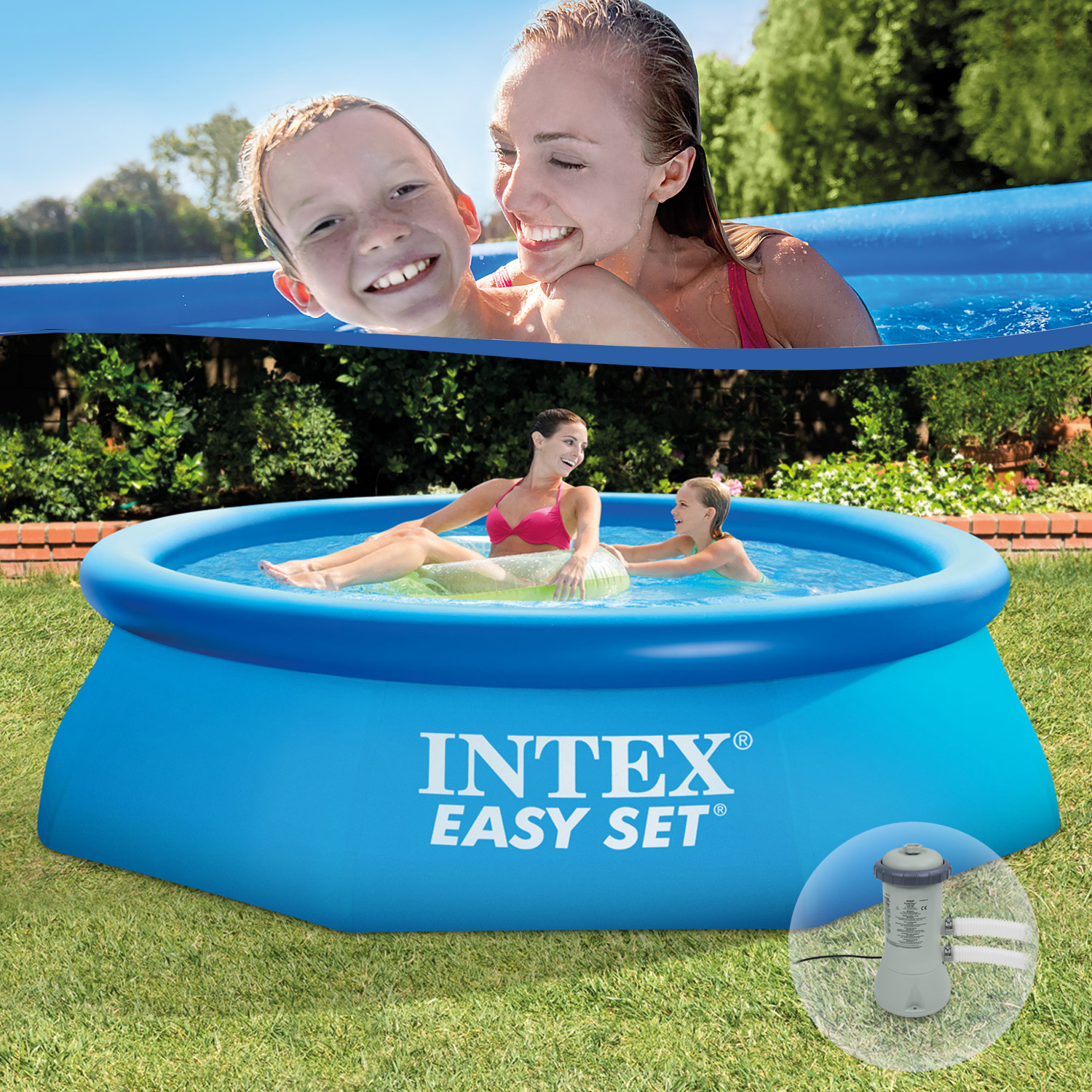 intex swimming pool easy 244x76 cm mit pumpe. Black Bedroom Furniture Sets. Home Design Ideas