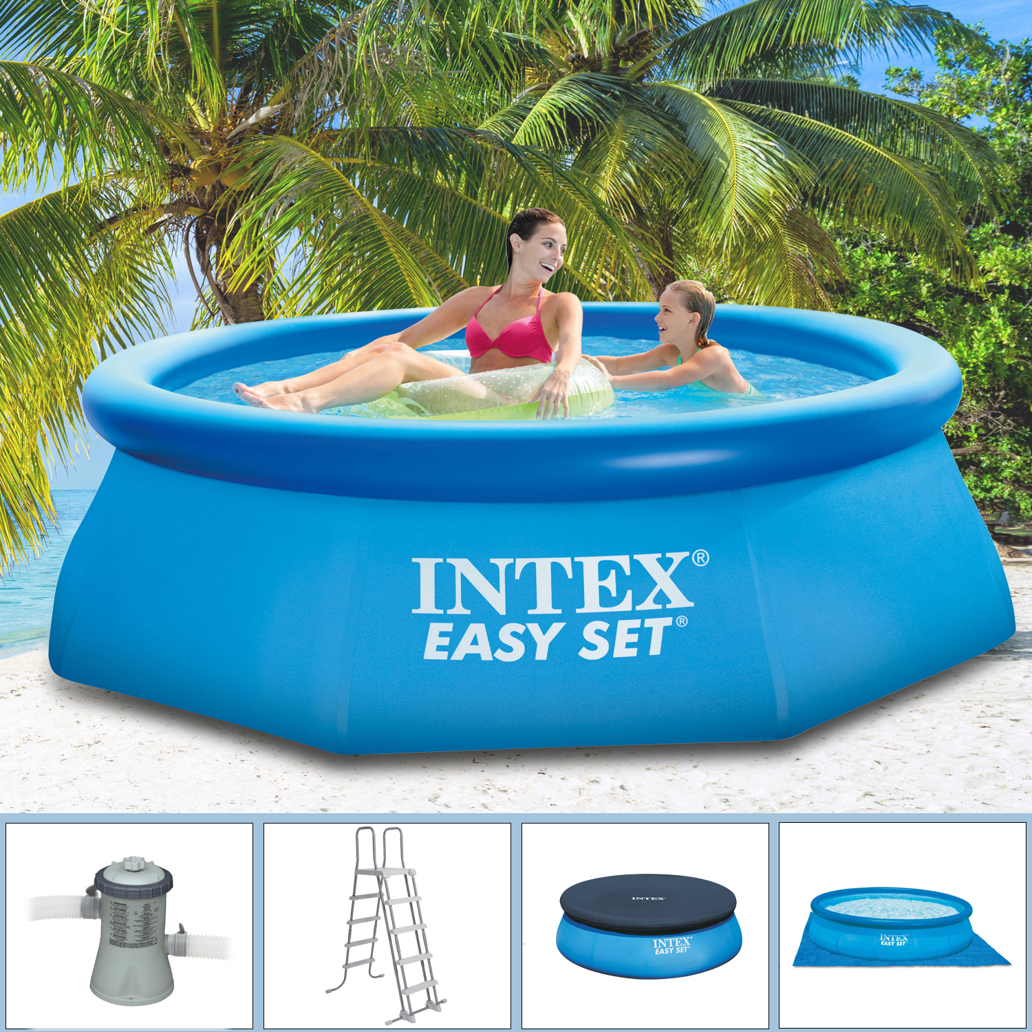 intex 244x76 komplettset schwimmbecken schwimmbad swimming. Black Bedroom Furniture Sets. Home Design Ideas
