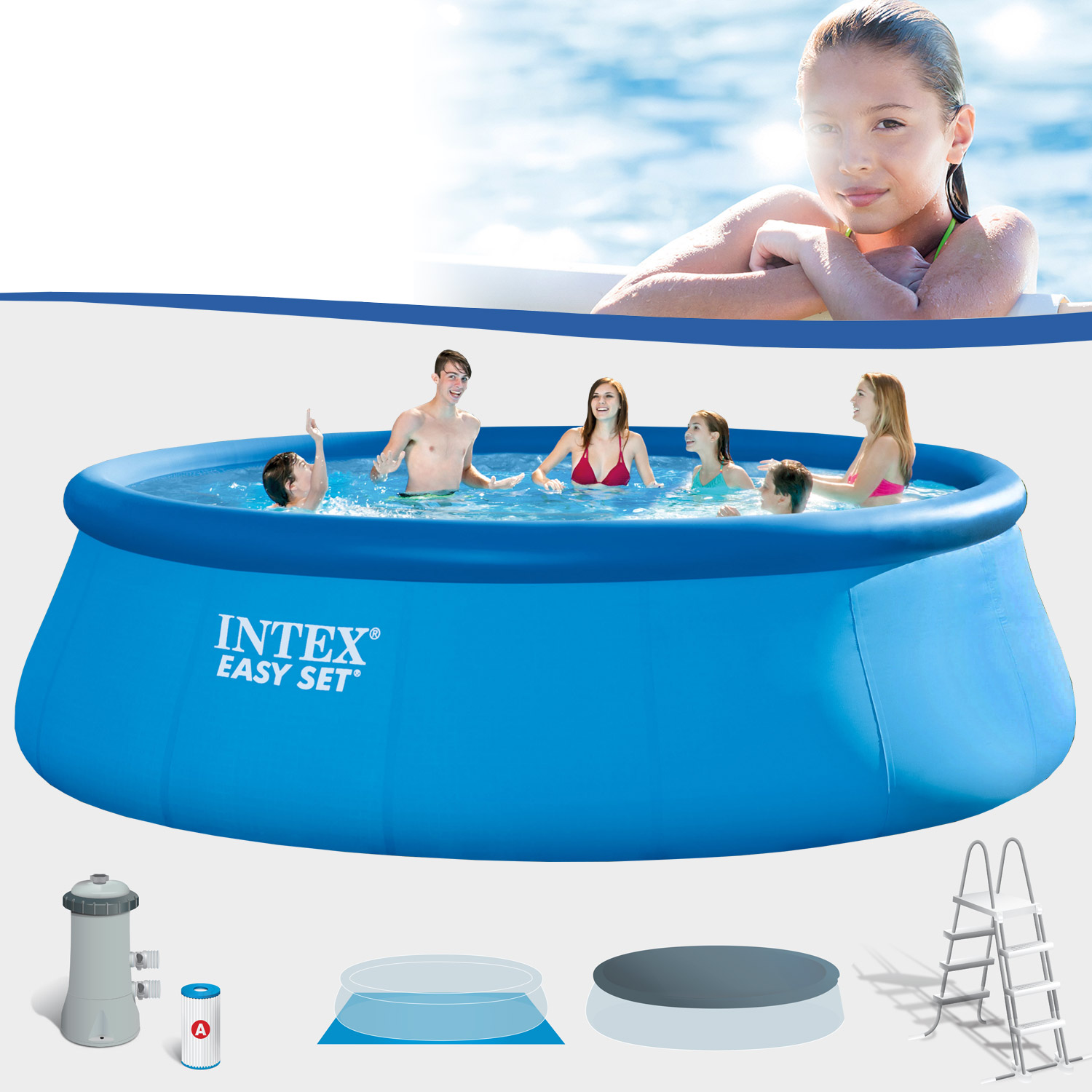 Intex swimming pool easy 457x122 cm mit pumpe leiter for Pool 457x122 mit sandfilteranlage