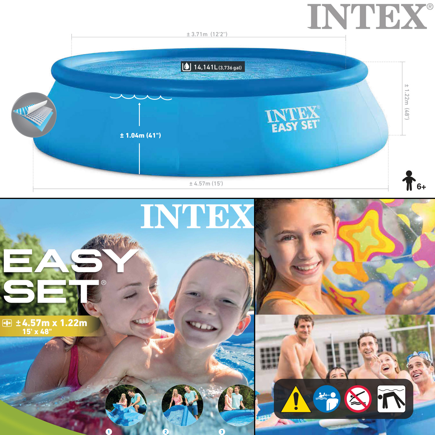 Intex 457x122 komplettset schwimmbecken swimming pool for Garten pool 457x122