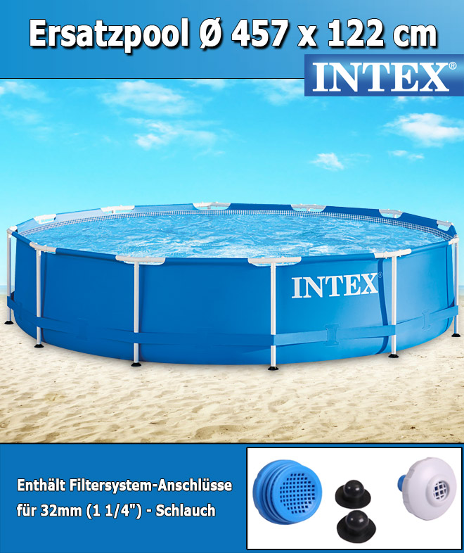 Intex swimming pool frame 457x122 cm ohne zubeh r for Garten pool 457x122