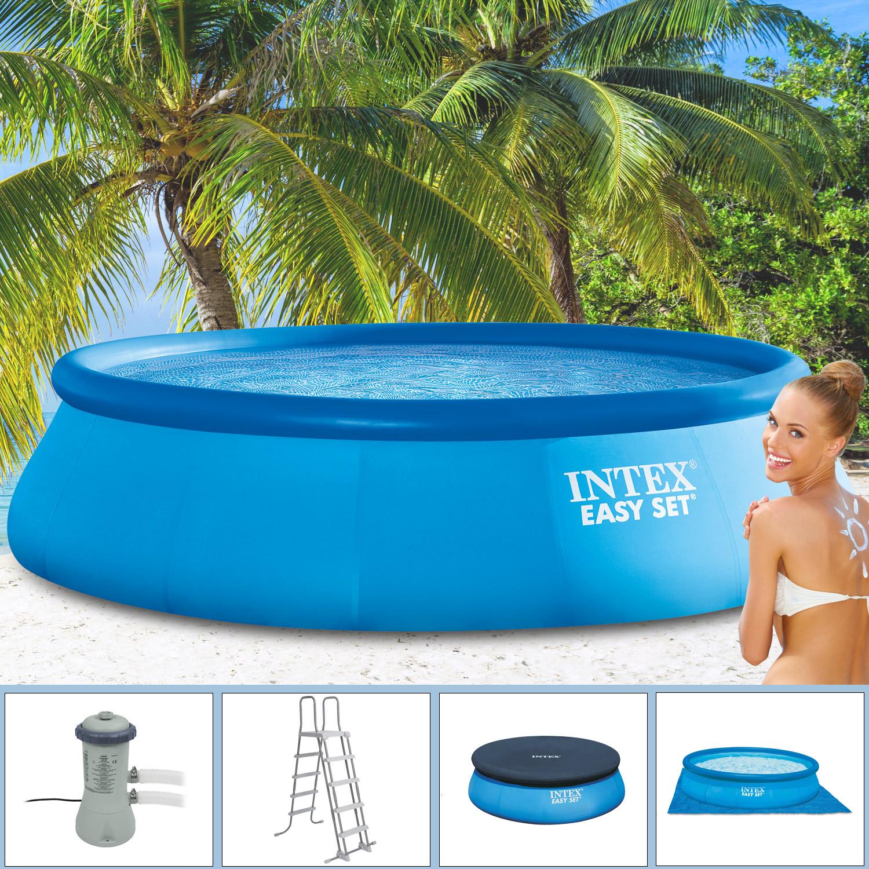 Intex 366x91 cm easy komplettset filterpumpe leiter a for Pool filterpumpe obi