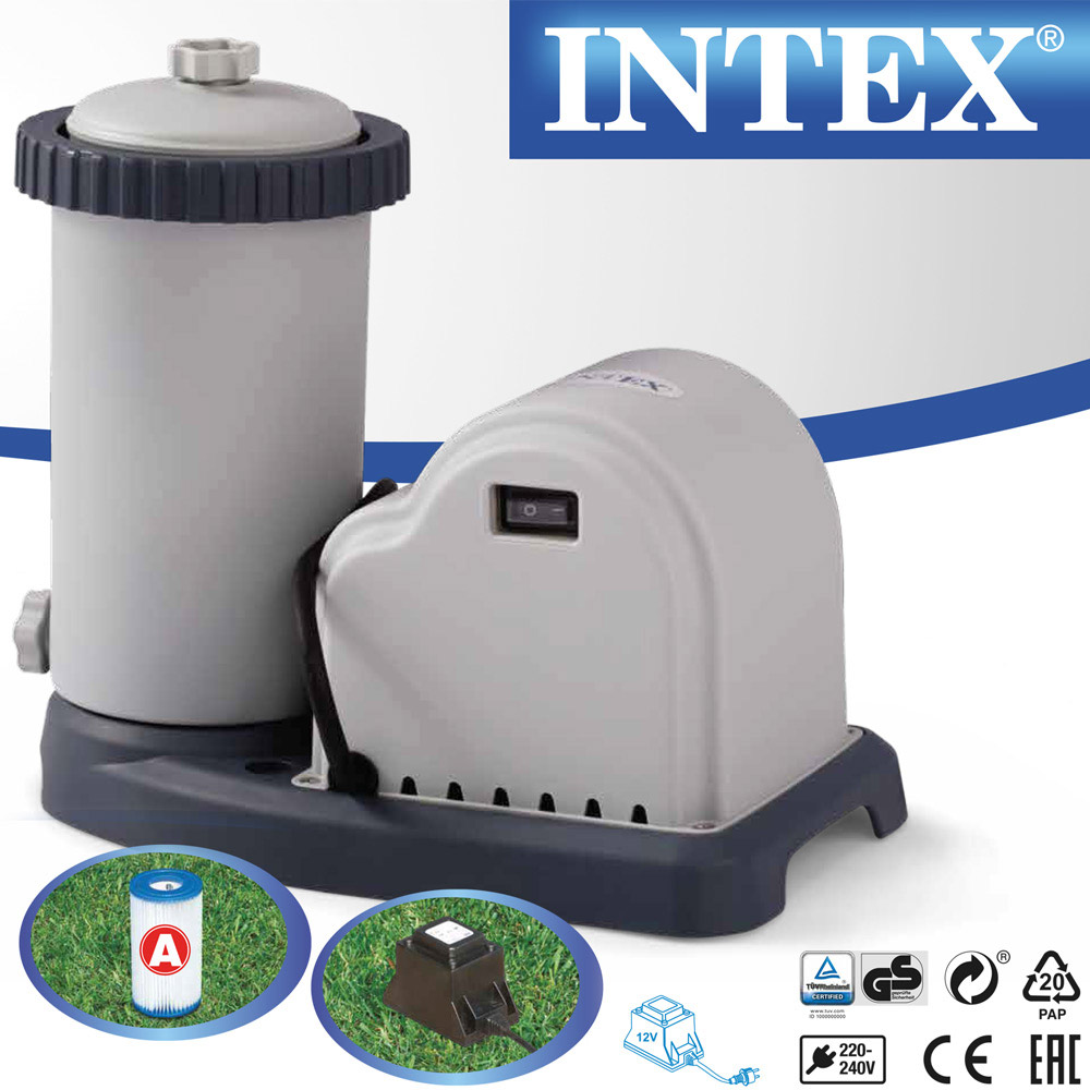 Intex 549x132 set pompe de filtration bassin piscine for Piscine intex 244 avec filtre