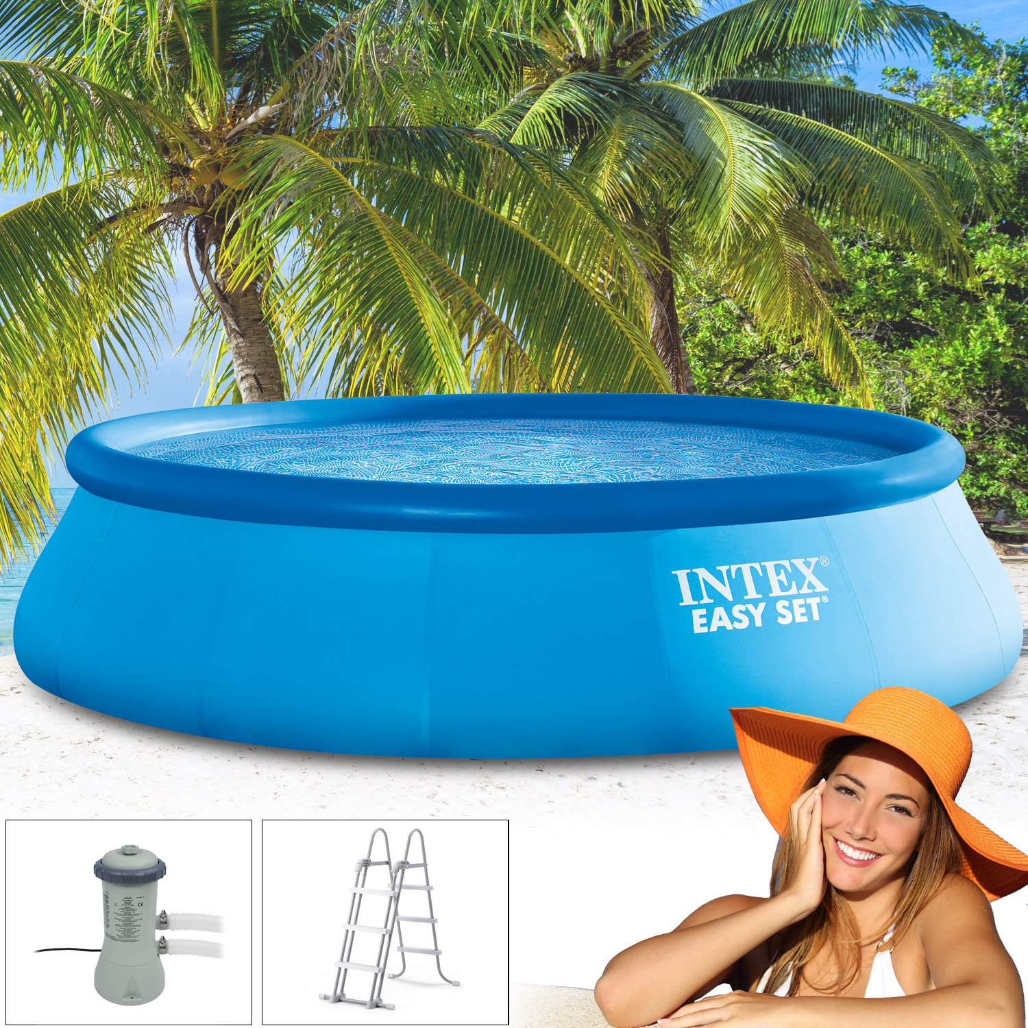 Intex 366x91 cm easy set bestehend aus pool filterpumpe for Angebote pool set