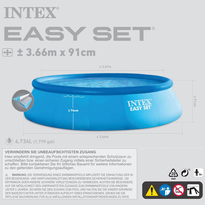 intex 366x91 cm komplettset filterpumpe schwimmbecken schwimmbad swimming pool 4251273901952 ebay. Black Bedroom Furniture Sets. Home Design Ideas