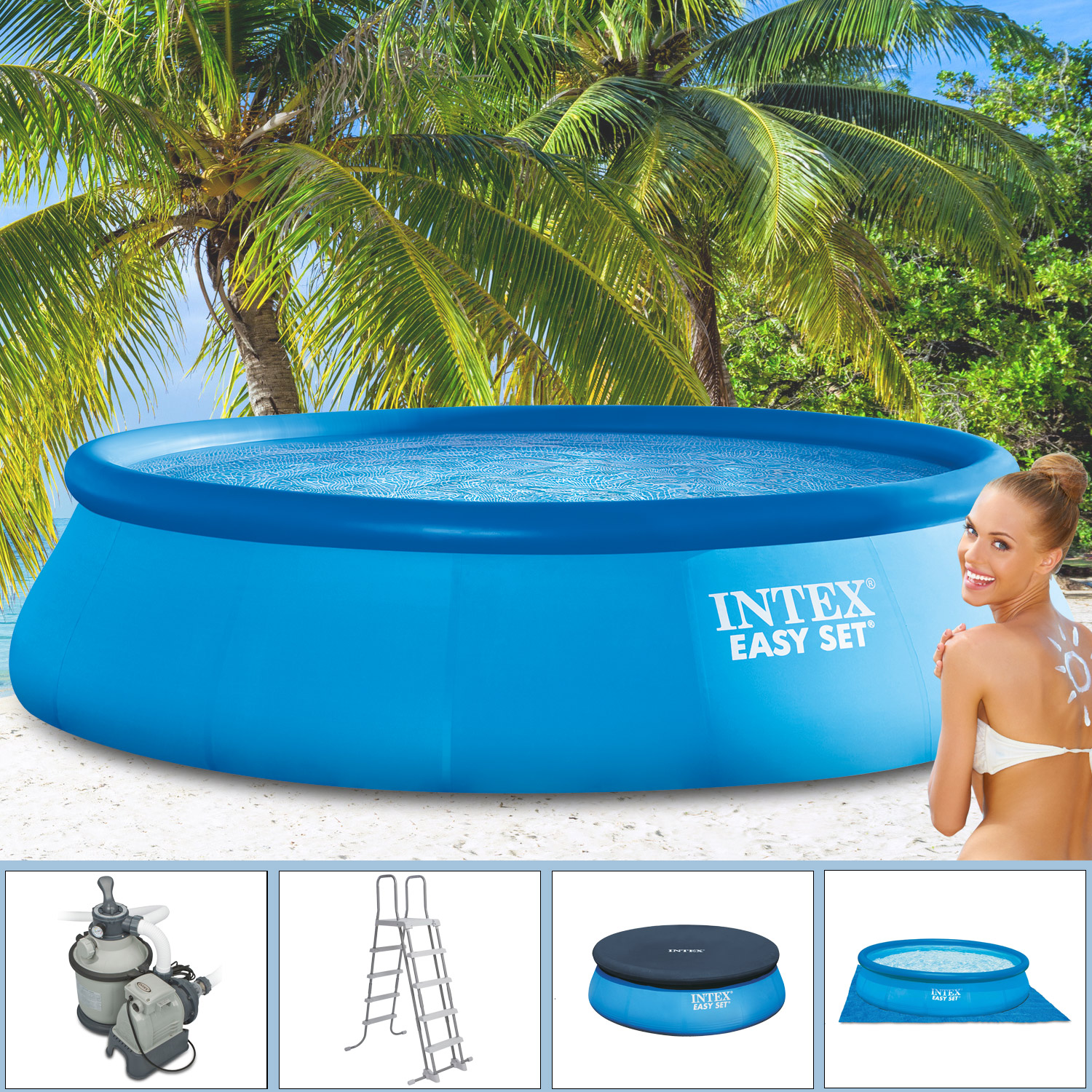 Intex piscine 457x122 avec filtre sable bassin piscine - Temps de filtration piscine ...