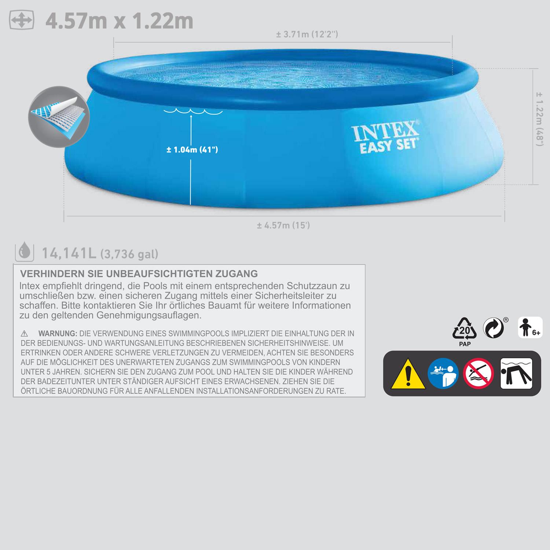 intex pool 457x122 mit sandfilter schwimmbecken schwimmbad planschbecken pumpe. Black Bedroom Furniture Sets. Home Design Ideas