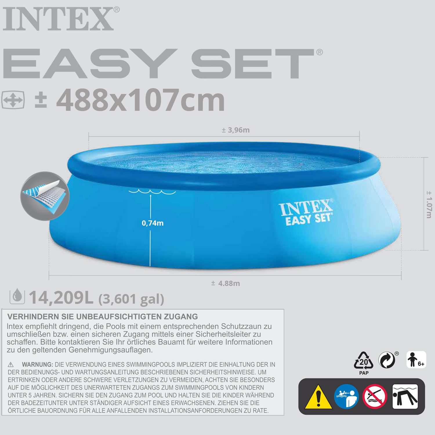 intex 488x107 cm komplettset swimming pool schwimmbad planschbecken sandfilter ebay. Black Bedroom Furniture Sets. Home Design Ideas