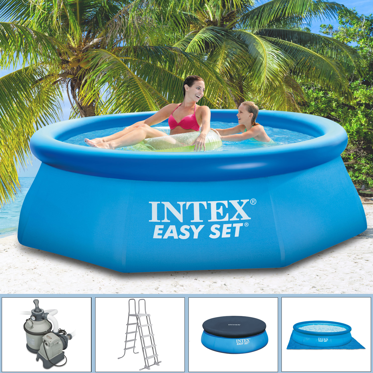 intex 305x91 komplettset sandfilterpumpe schwimmbecken schwimmbad swimming pool ebay. Black Bedroom Furniture Sets. Home Design Ideas