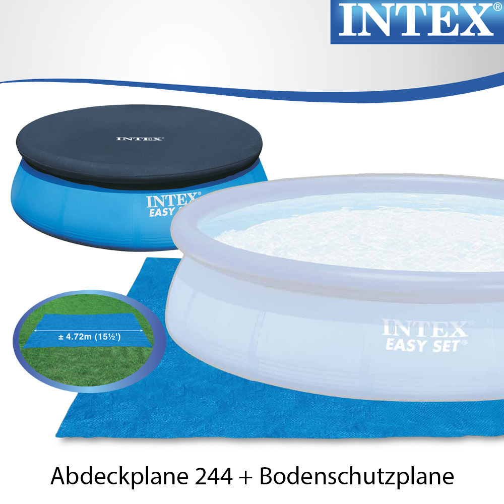 Intex 305x91 komplettset sandfilterpumpe schwimmbecken for Swimmingpool abdeckplane