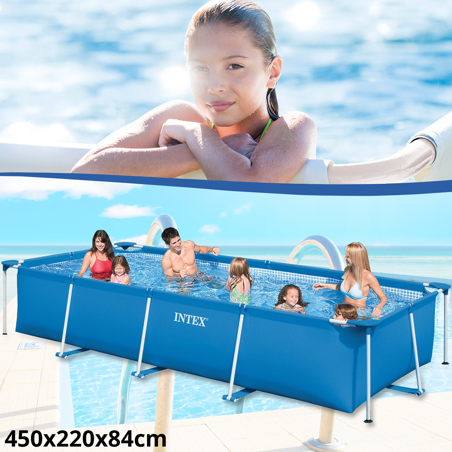 intex family schwimmbad swimming pool familienpool schwimmbecken rechteck frame. Black Bedroom Furniture Sets. Home Design Ideas