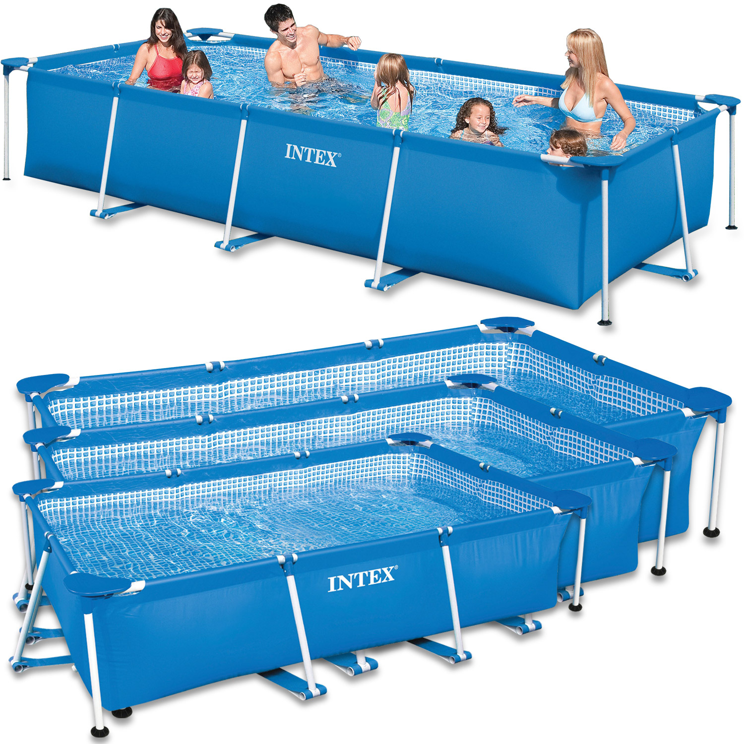 Intex family swimming pool rectangular frame ebay for Intex rectangular swimming pool