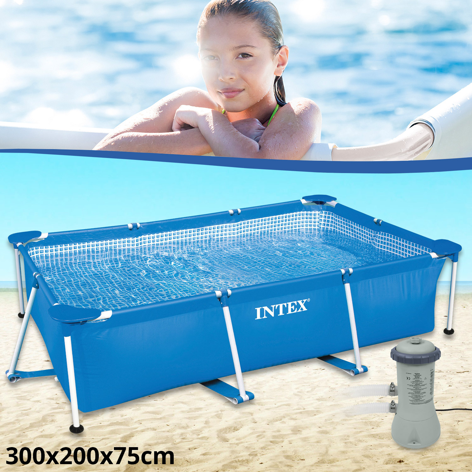 Intex set family schwimmbad swimming pool schwimmbecken for Schwimmbad pool