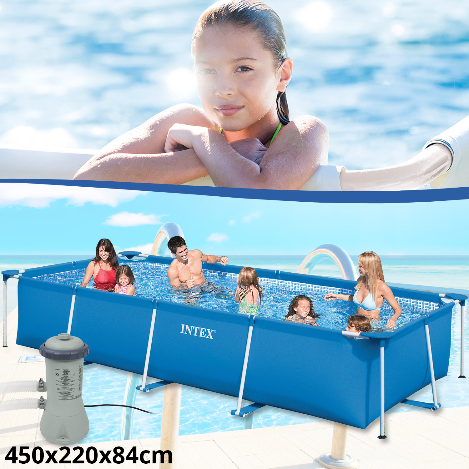 intex set family schwimmbad swimming pool schwimmbecken rechteck frame mit pumpe. Black Bedroom Furniture Sets. Home Design Ideas