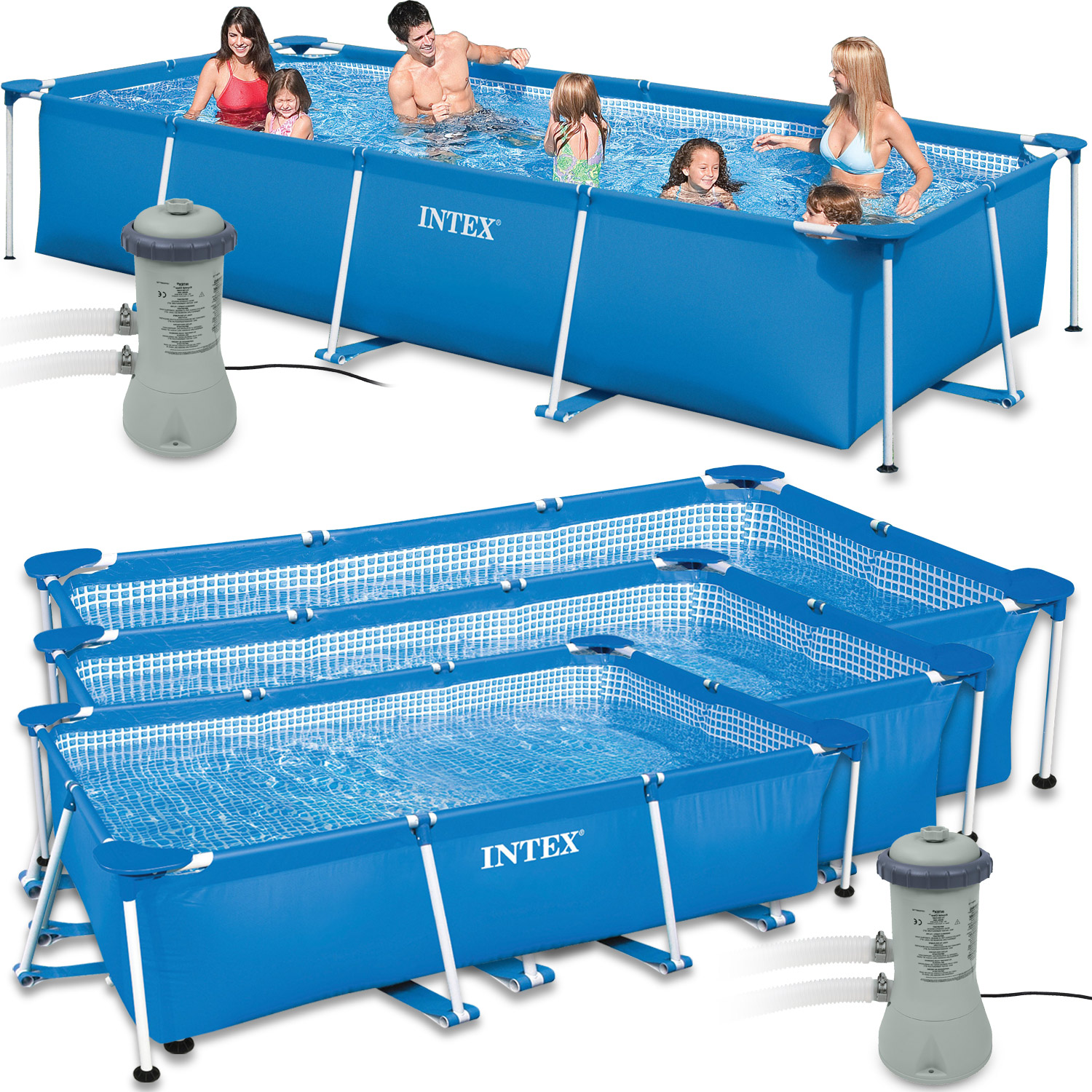 intex set family schwimmbad swimming pool schwimmbecken rechteck frame mit pumpe ebay. Black Bedroom Furniture Sets. Home Design Ideas