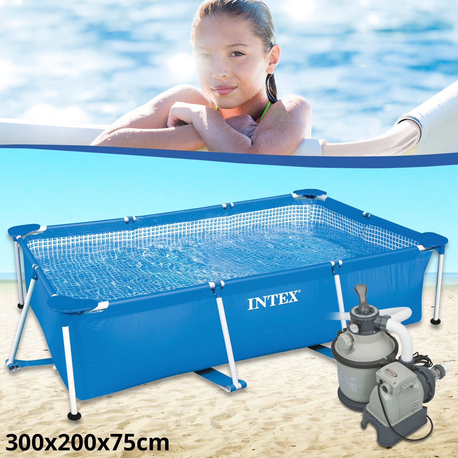 intex family schwimmbad swimming pool sandfilter. Black Bedroom Furniture Sets. Home Design Ideas