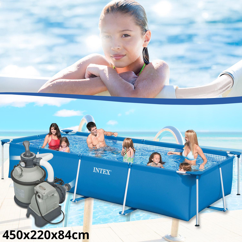 Intex family schwimmbad swimming pool sandfilter for Rechteck pool zum aufstellen