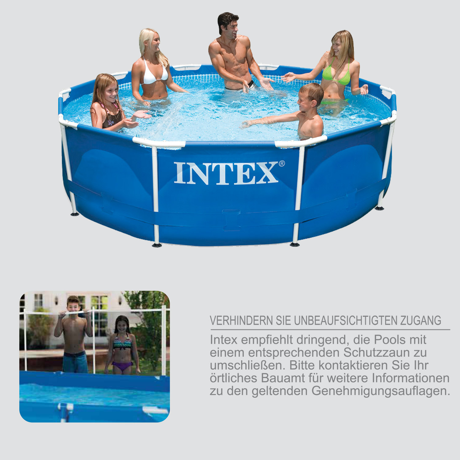 Intex 305x76 swimming pool frame stahlwandbecken for Garten pool intex
