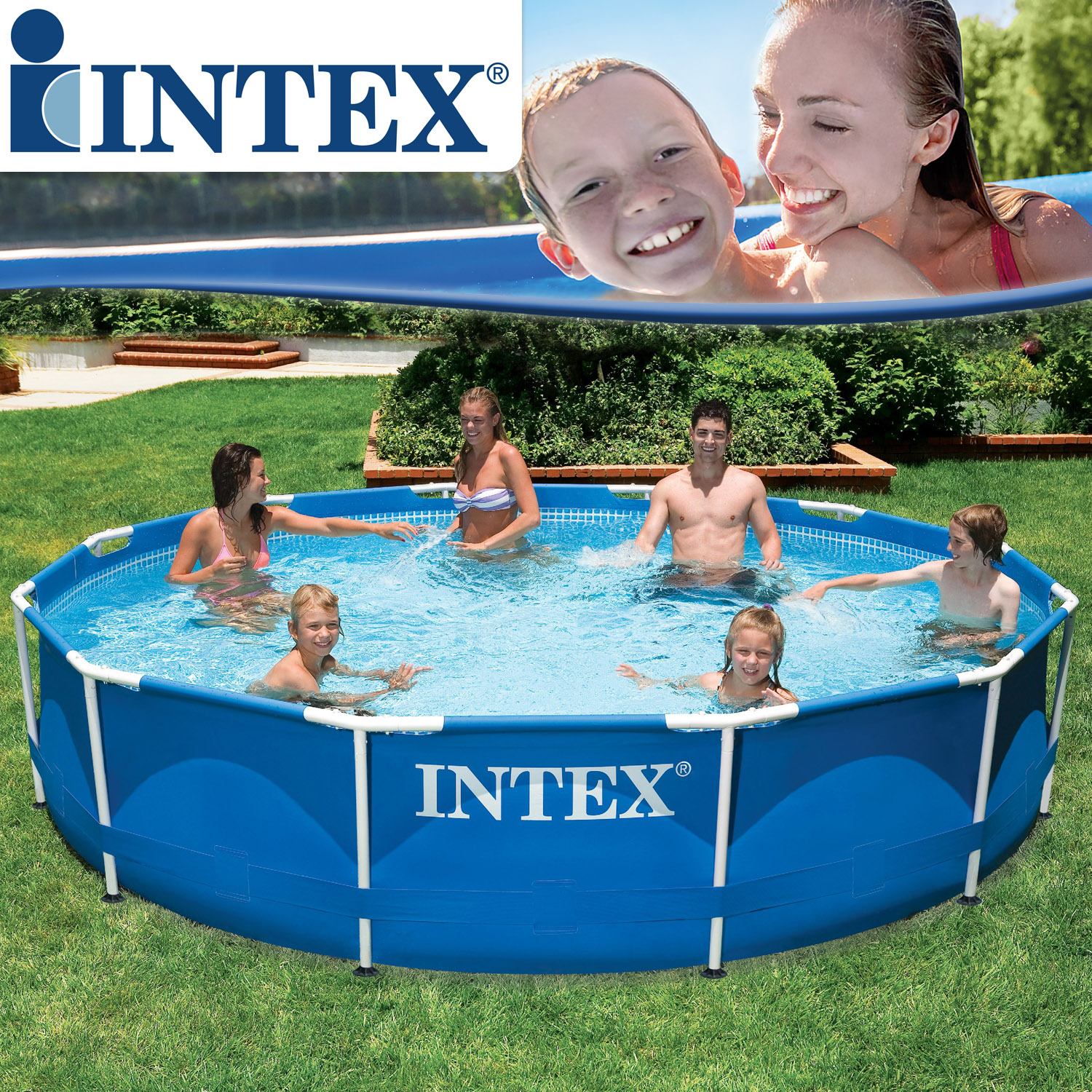 Intex 366x76 cm frame pool set rondo for Garten pool intex